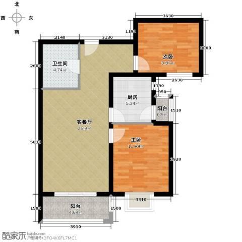 凡尔赛公馆2室1厅1卫1厨91.00㎡户型图