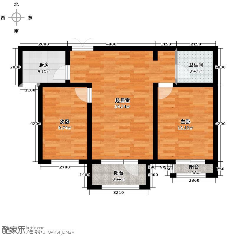 凤河・孔雀英国宫83.72㎡9号楼B3反户型2室2厅1卫