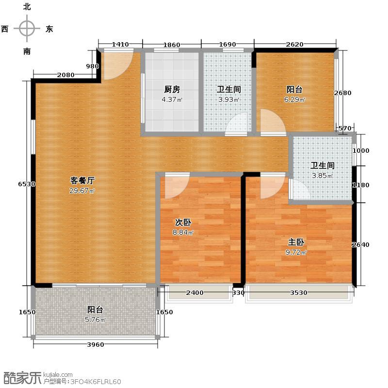 汇银W新港湾90.00㎡二期10/11座02单位户型3室2厅2卫