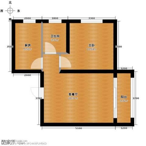 蓝山世家1室2厅1卫0厨60.00㎡户型图