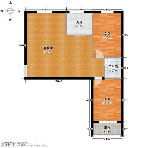 伽蓝・美城2室1厅1卫1厨113.00㎡户型图