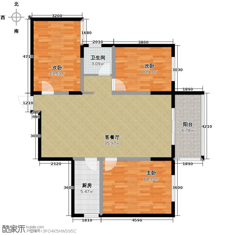 万鸿城市花园117.00㎡C3户型3室1厅1卫1厨
