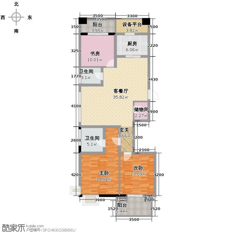 滨江凯旋门139.00㎡二期2号楼东西边套E户型3室2厅2卫