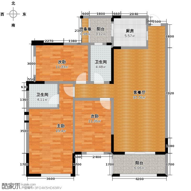 海棠湾124.74㎡F2户型3室2厅2卫