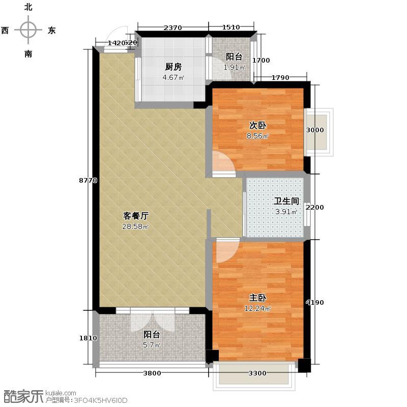 海棠公馆82.89㎡B型户型2室1厅1卫1厨