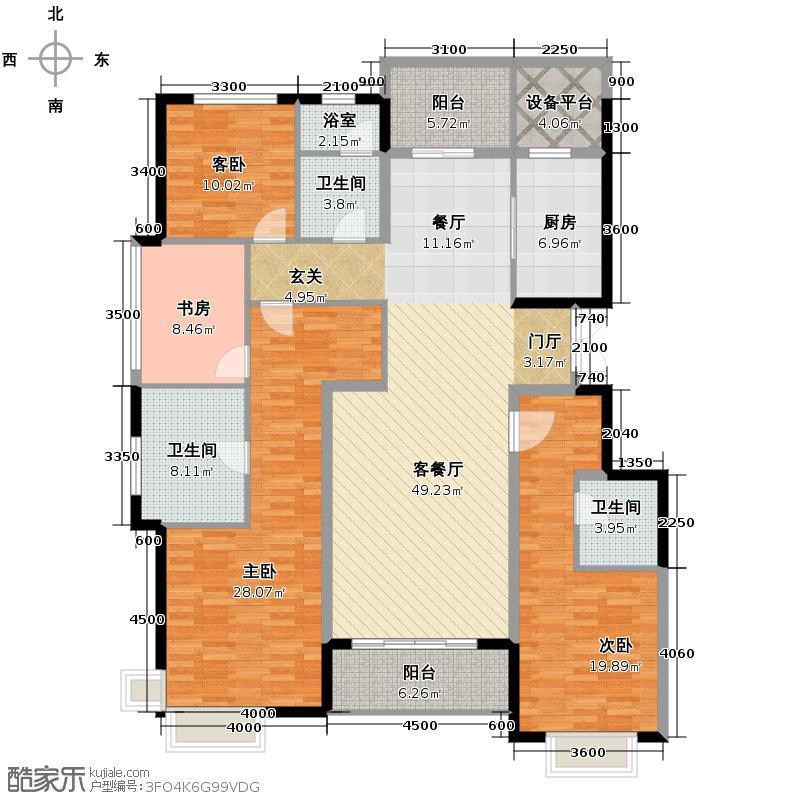 滨江凯旋门189.00㎡4、5号楼边套N户型4室4厅3卫