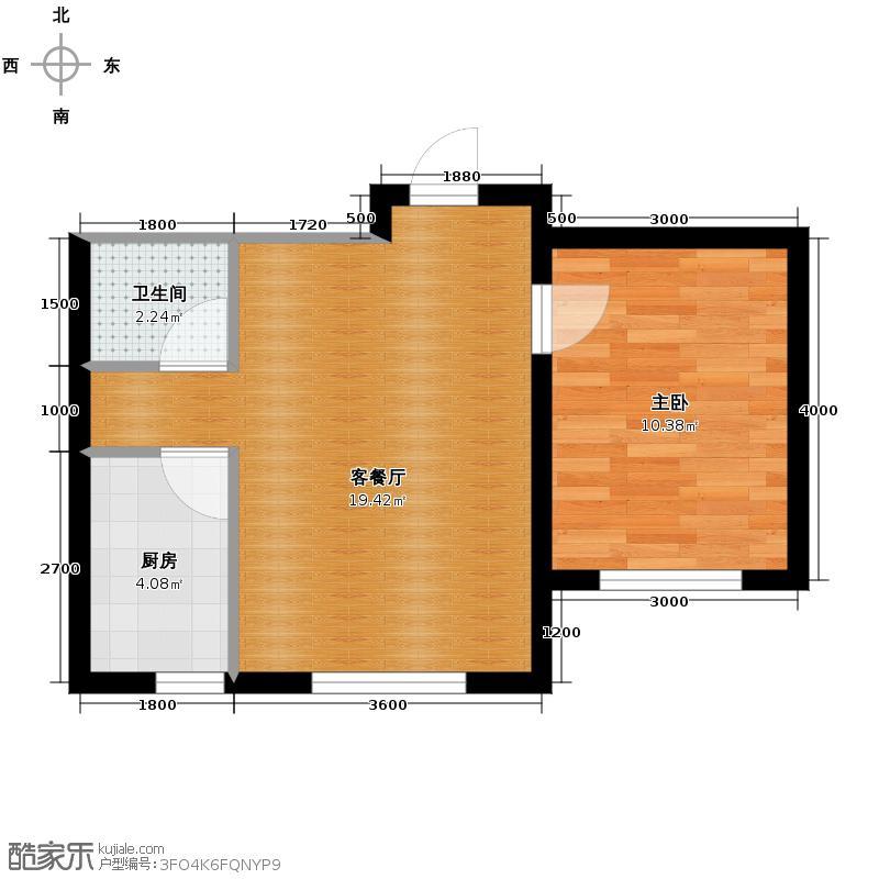 兆丰凯旋明珠52.49㎡7、8号楼O户型1室2厅1卫