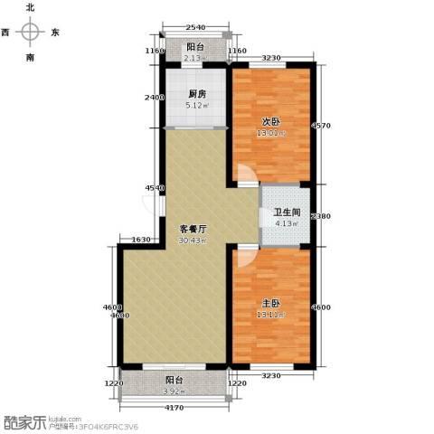 瑞赛居圣苑2室1厅1卫1厨102.00㎡户型图