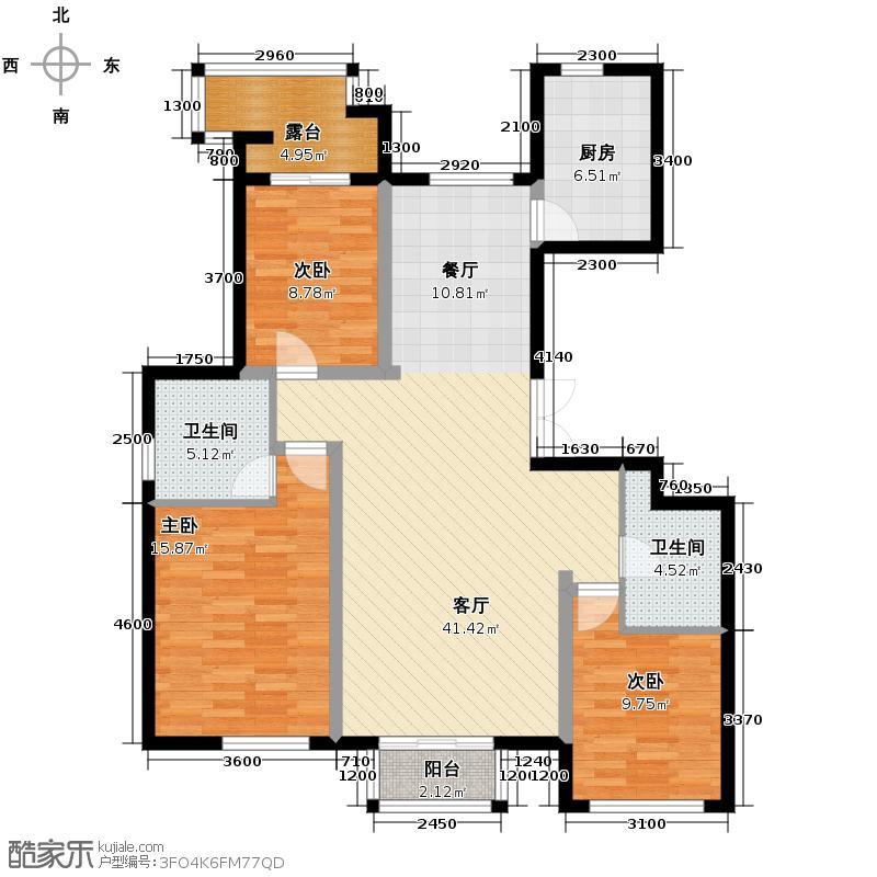 孔雀海113.37㎡2/4/5/6号楼奇数层B1端户型3室2厅2卫