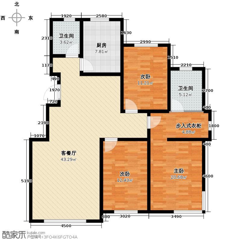 英伦小镇139.09㎡N小高层户型3室2厅2卫