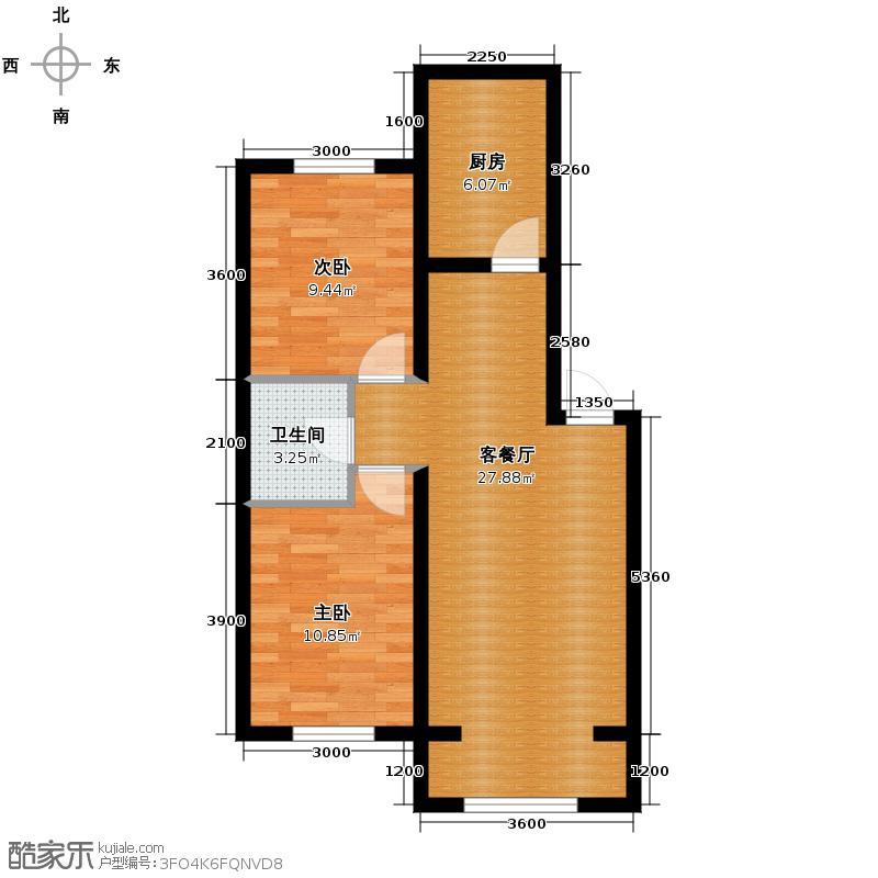 兆丰凯旋明珠77.62㎡26、27、29、30、31、34号楼C户型2室2厅1卫