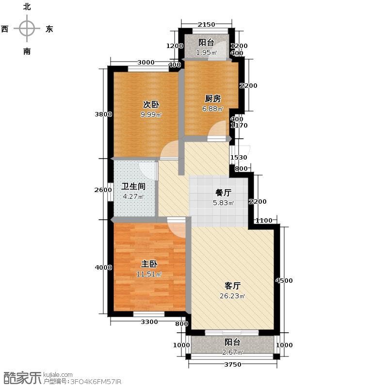 孔雀海90.00㎡户型2室2厅1卫