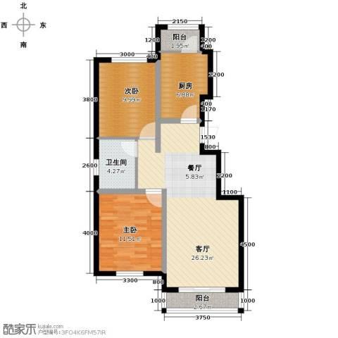 孔雀海2室2厅1卫0厨90.00㎡户型图