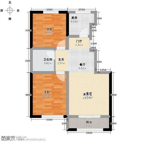 中冶蓝城2室2厅1卫0厨84.00㎡户型图