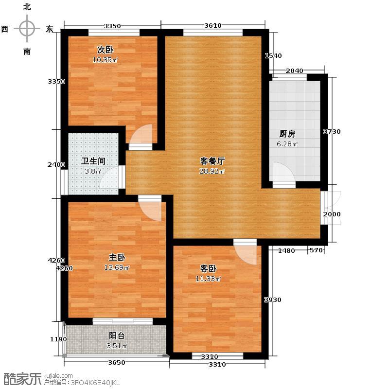 林语兰庭102.69㎡A1户型3室2厅1卫