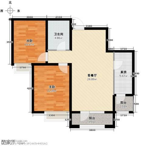 融科贻锦台2室2厅1卫0厨99.00㎡户型图