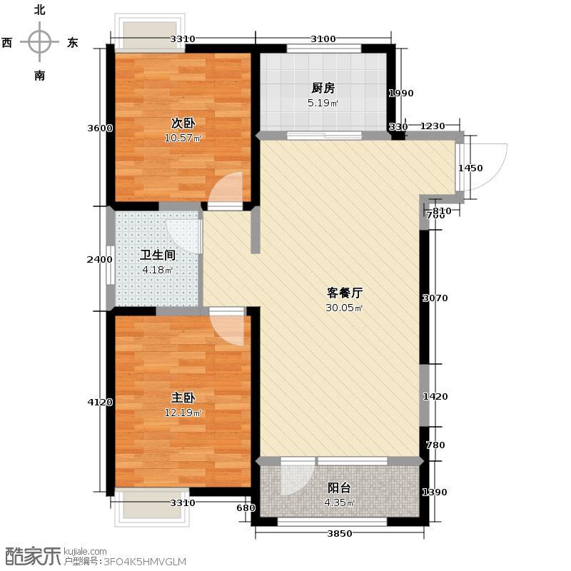 融科贻锦台102.00㎡Ja户型2室2厅1卫