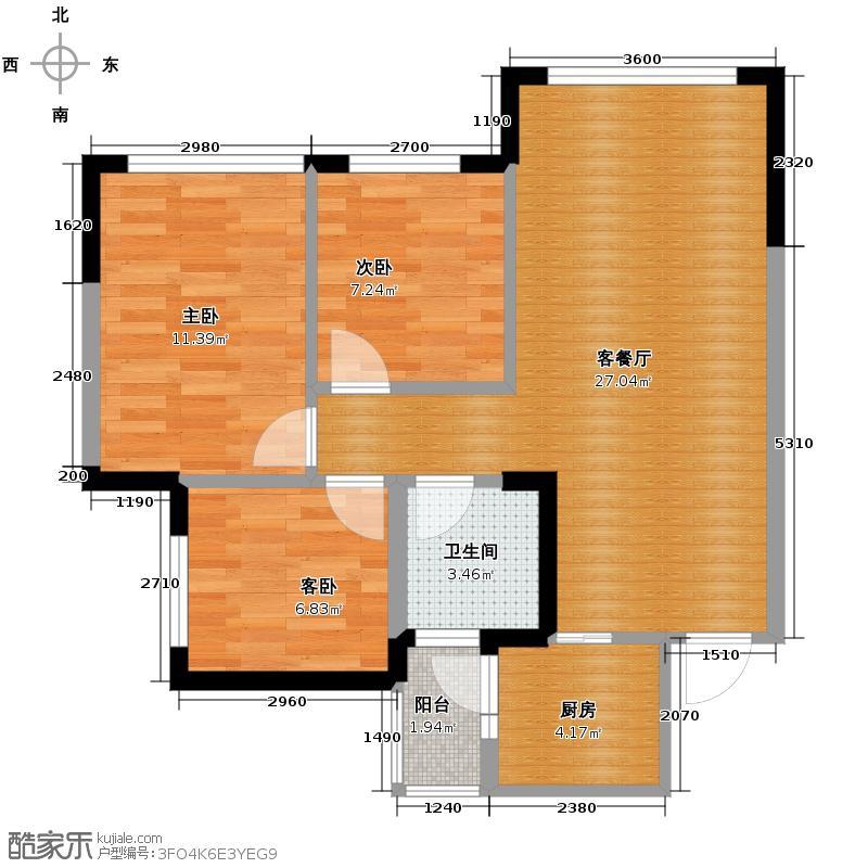 蓝光COCO金沙2期73.00㎡B1户型3室2厅1卫