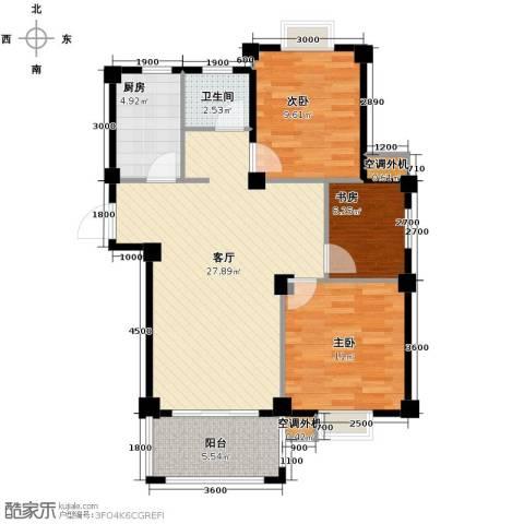 小骆花园3室1厅1卫1厨95.00㎡户型图