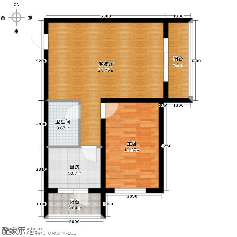 广厦摩卡公馆64.68㎡F户型10室