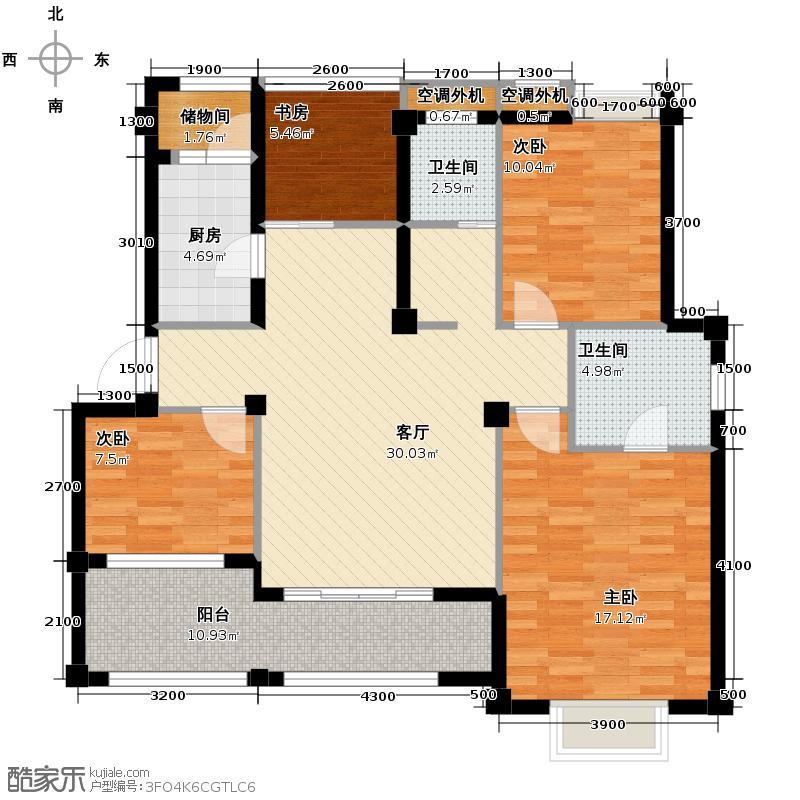 小骆花园110.44㎡户型4室1厅2卫1厨