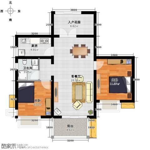 湘江世纪城2室1厅1卫1厨93.00㎡户型图