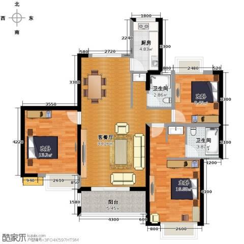 湘江世纪城3室1厅2卫1厨128.00㎡户型图
