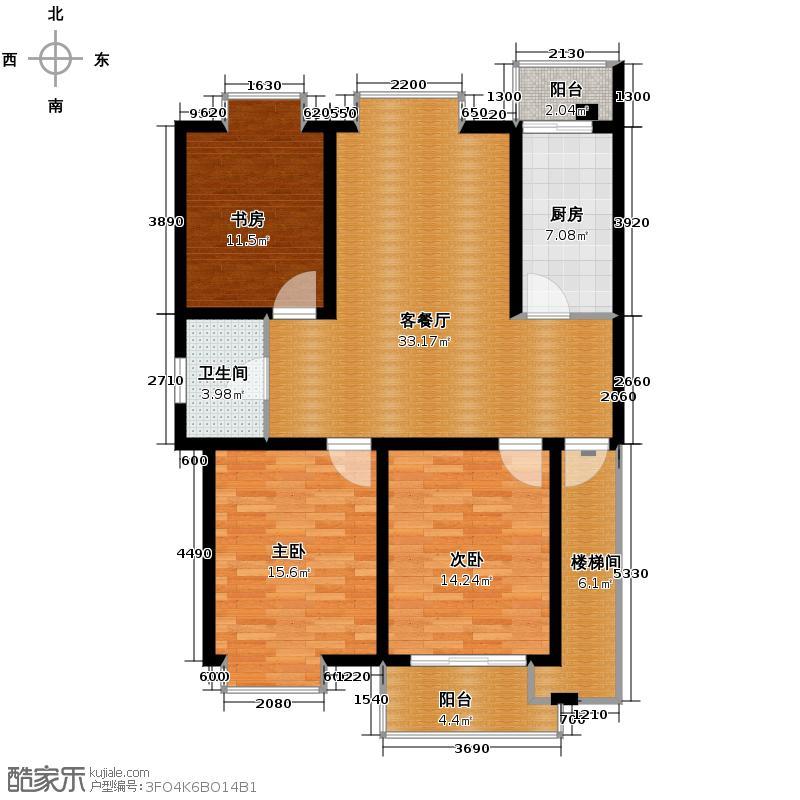 上城风景110.00㎡户型3室1厅1卫1厨