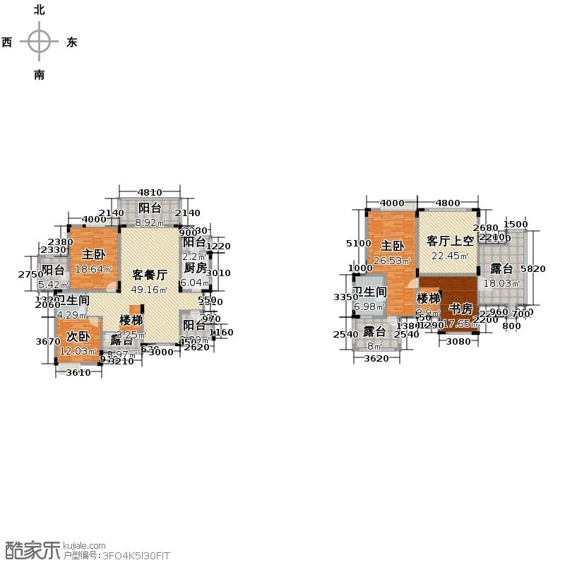 中铁山水一舍154.00㎡A5顶跃户型4室1厅2卫1厨