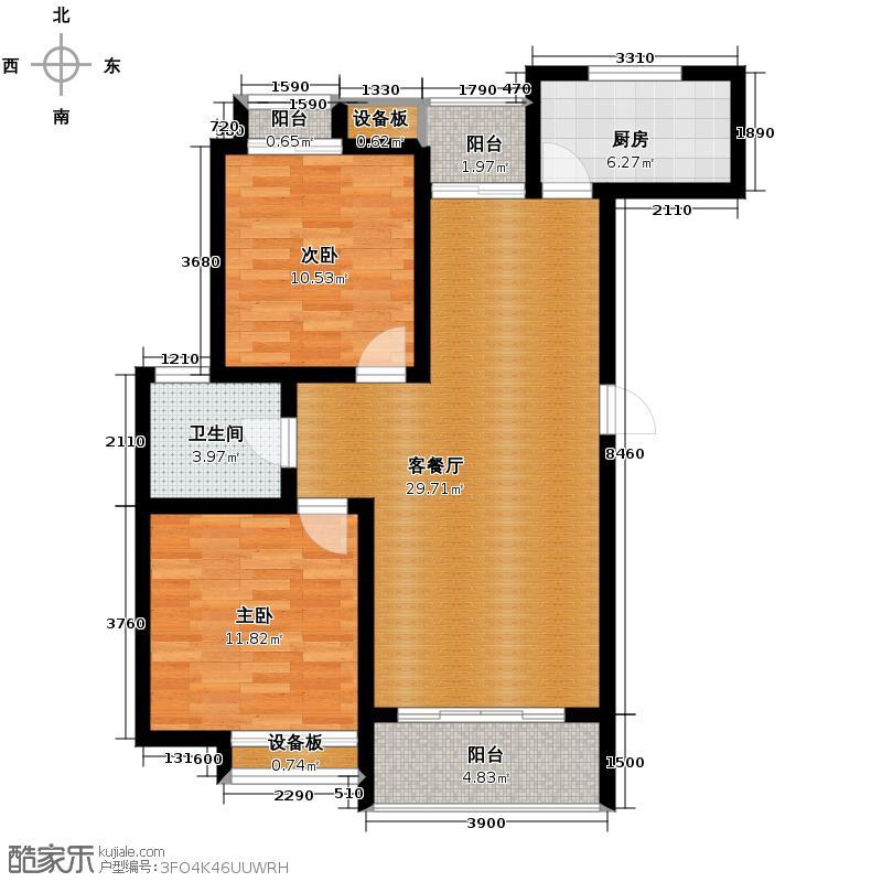 曼城88.30㎡A5户型2室1厅1卫1厨