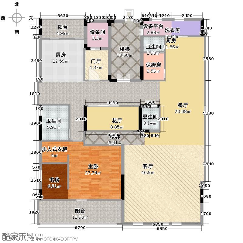 钱塘艺墅215.34㎡南面顶层公寓2户型1室2卫