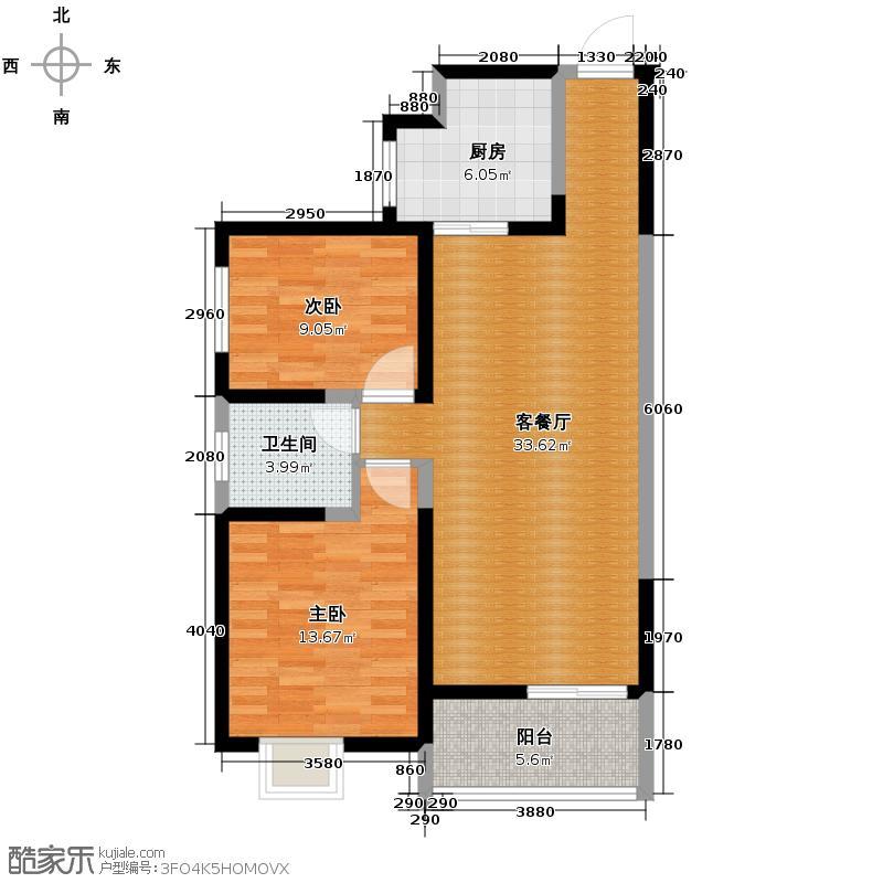 海�时代85.00㎡户型2室1厅1卫1厨