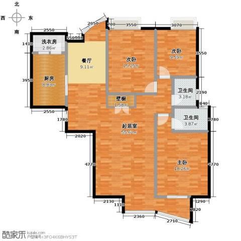 星河御城3室2厅2卫0厨156.00㎡户型图