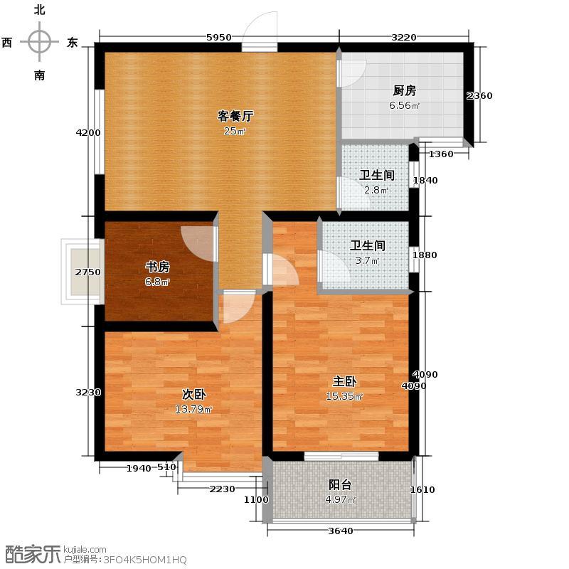 海�时代85.00㎡户型3室1厅2卫1厨