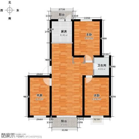瑞赛居圣苑3室1厅1卫1厨125.00㎡户型图