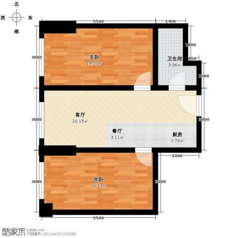 天伦中央广场2室1厅1卫0厨80.00㎡户型图