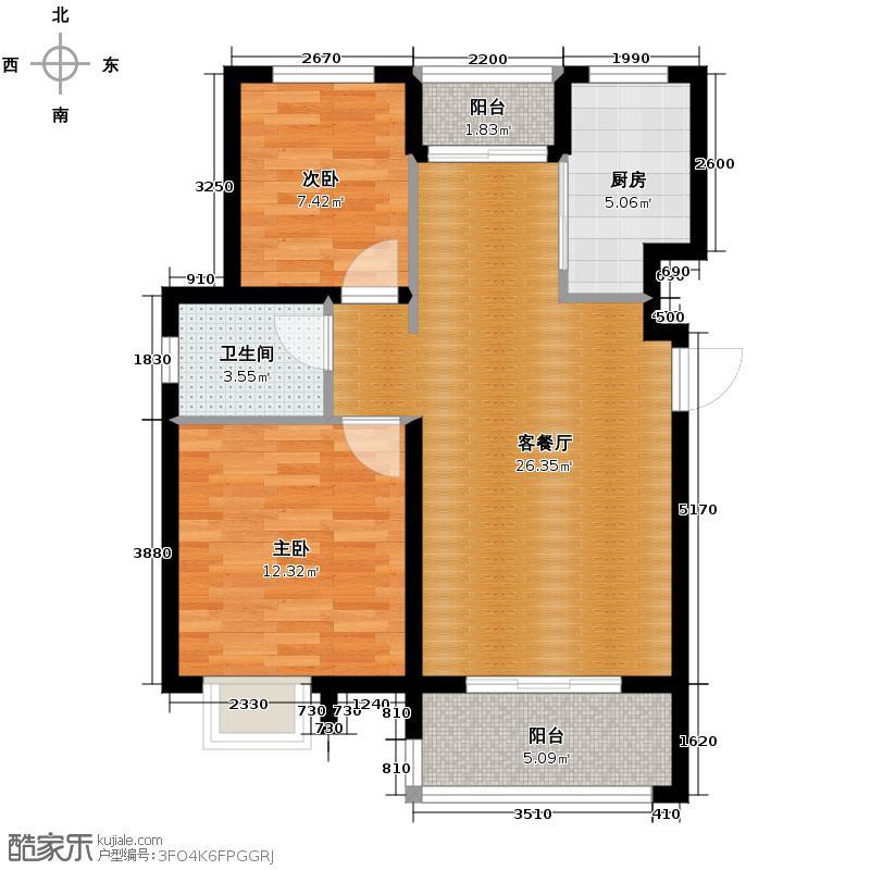 重汽翡翠东郡88.00㎡42/48号楼A/B户型2室2厅1卫