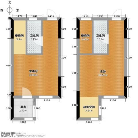 万晟金地公馆1室1厅2卫0厨88.00㎡户型图