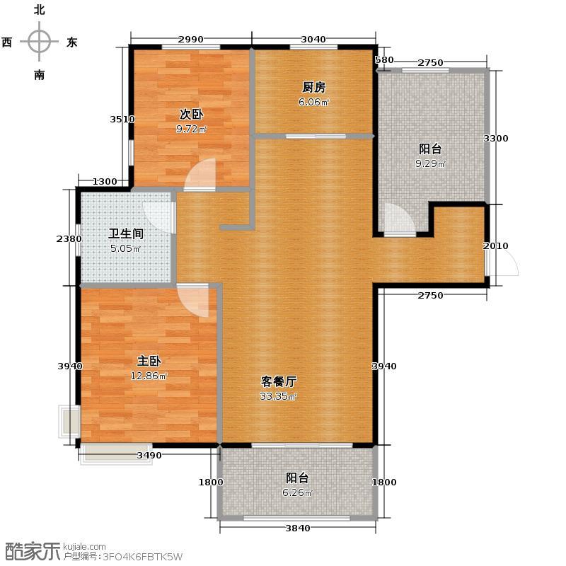 潮白河・孔雀英国宫112.00㎡B1户型2室2厅1卫