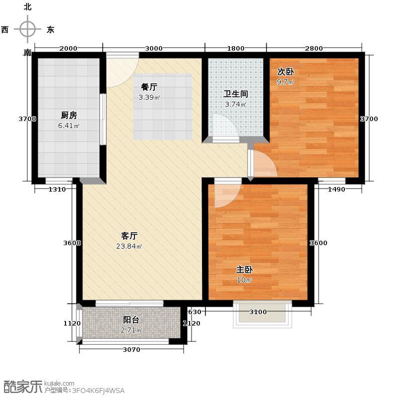 4号线孔雀大卫城63.43㎡G已售完户型2室1厅1卫1厨