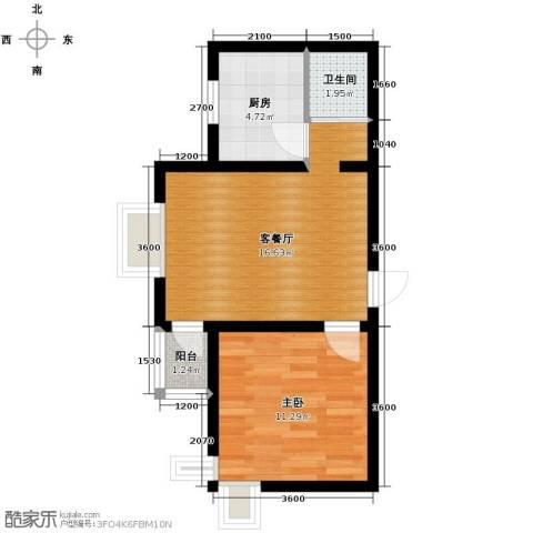 西堤国际1室1厅1卫1厨50.00㎡户型图