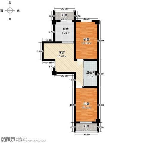 天伦中央广场2室1厅1卫0厨88.00㎡户型图