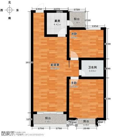 西堤国际2室0厅1卫1厨100.00㎡户型图