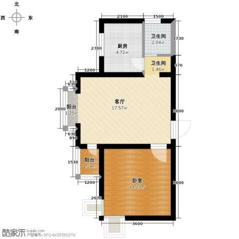 西堤国际1厅1卫1厨54.00㎡户型图