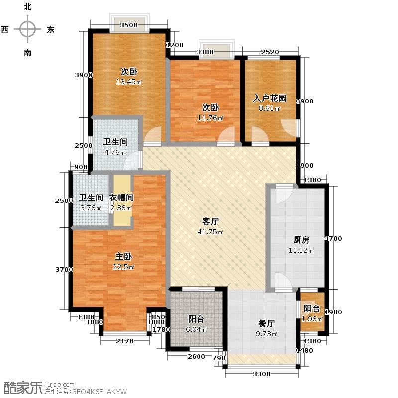 普华浅水湾147.00㎡C+入户花园39米进深花园厨房双开门卧室大飘窗户型10室