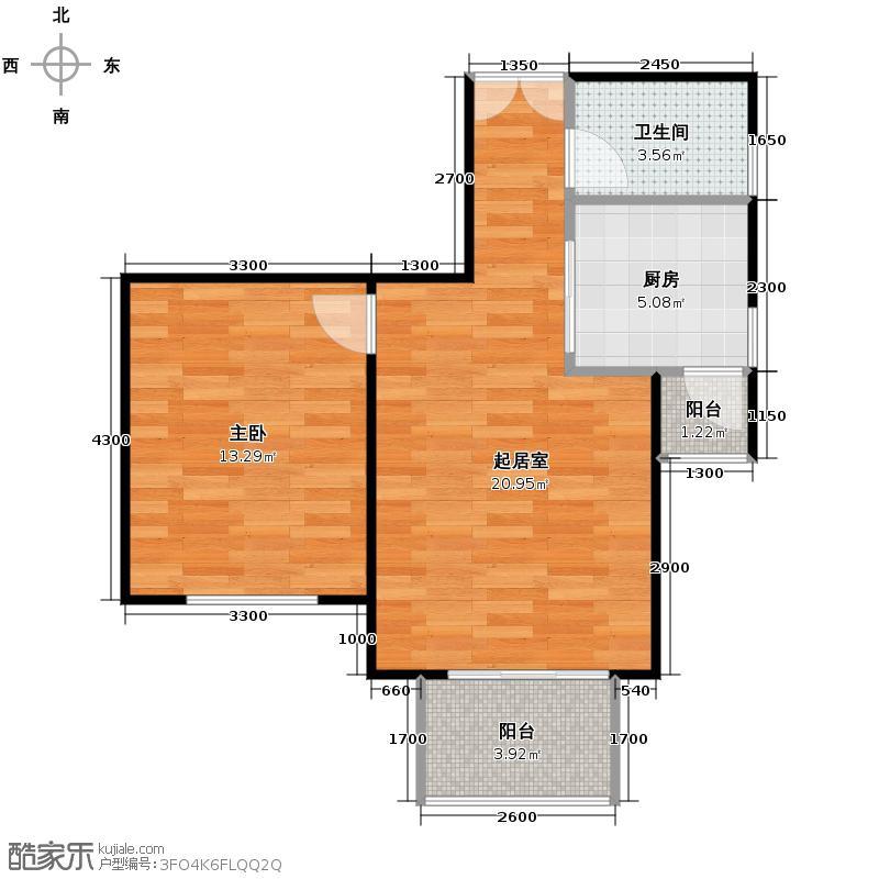 京汉君庭64.65㎡A1户型1室1厅1卫