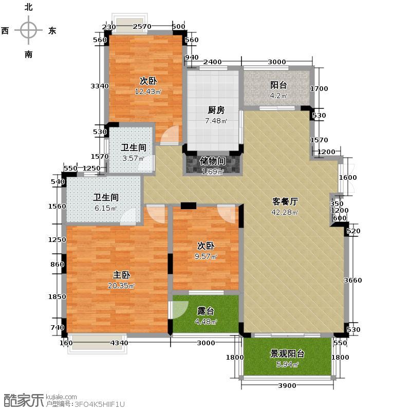 中铁山水一舍121.00㎡一期E栋标准层E4户型3室1厅2卫1厨