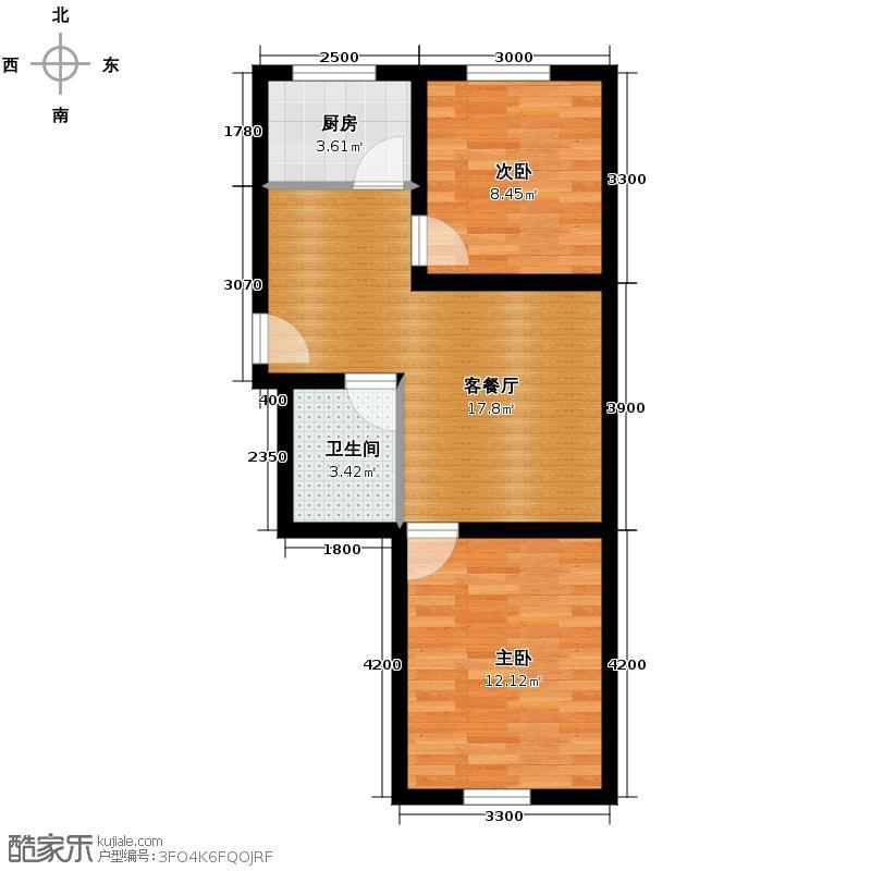 兆丰凯旋明珠60.93㎡31、34号楼F户型2室2厅1卫
