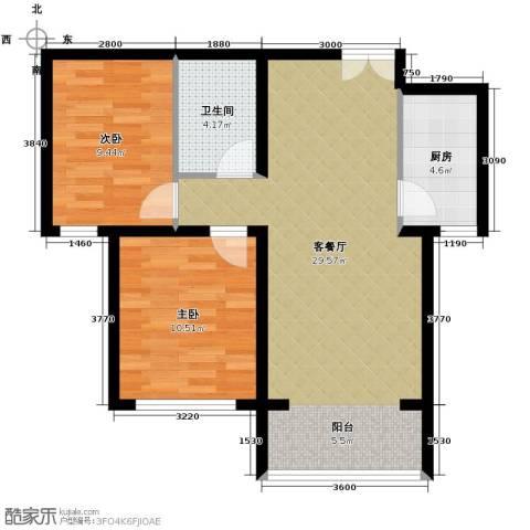 香榭家园2室1厅1卫1厨85.00㎡户型图