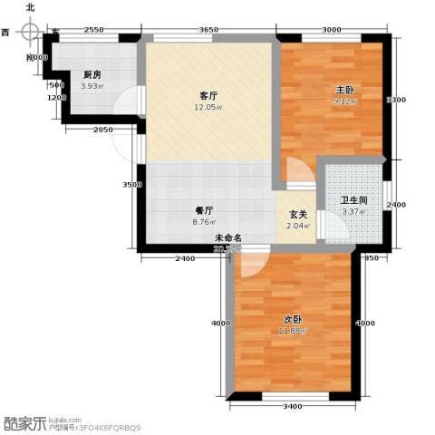 中冶蓝城2室2厅1卫0厨75.00㎡户型图